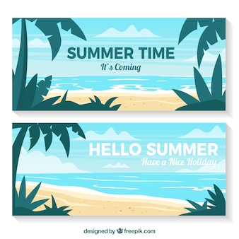 Summer banners with palm trees and seascape