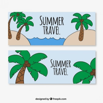 Summer banners with palm trees