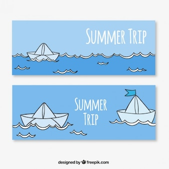 Summer banners with paper boats