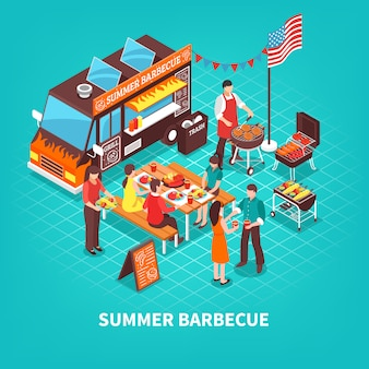 Summer barbecue isometric illustration