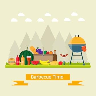 Summer barbecue picnic on meadow under umbrella.
