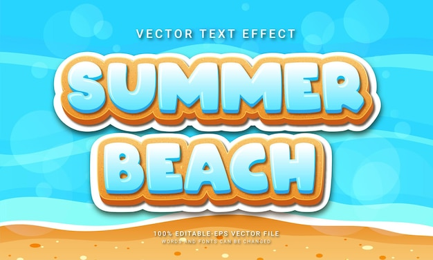Summer beach 3d text style effect themed happy summer holiday