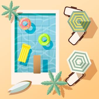 여름 해변과 수영장 그림. 휴가 개념. 관광 및 여행 예술.