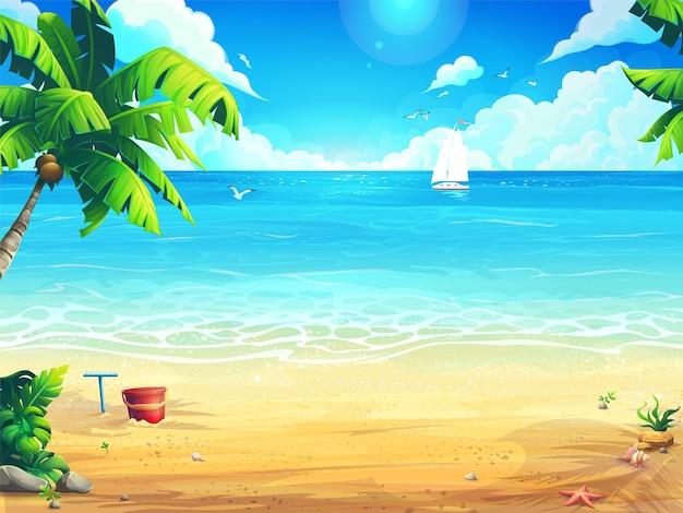 Летний пляж и пальмы на фоне моря и белой лодки.
