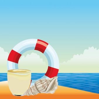 Летний пляж и отдых мультфильм