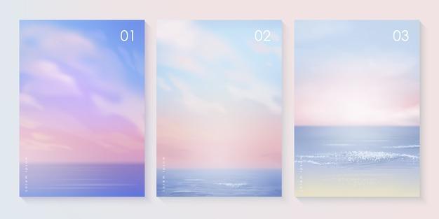Набор шаблонов фона летнего пляжа