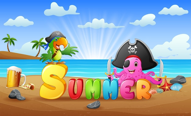 Summer beach background with octopus pirate and parrot