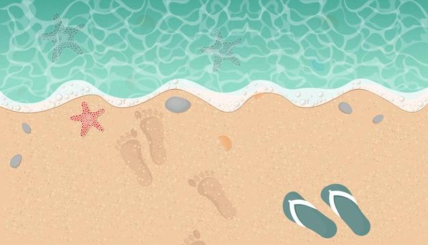 모래와 파도, 상위 뷰 여름 해변 배경.