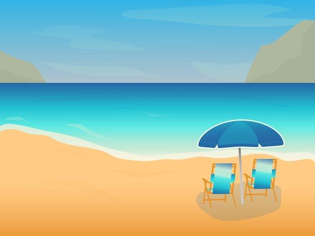 Летний пляж фон с зонтиком и стульями