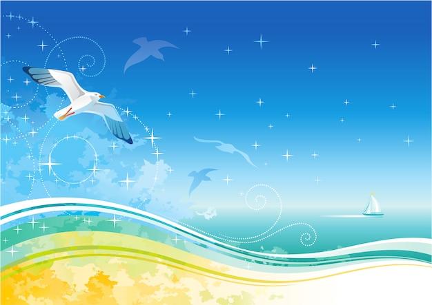 夏のビーチのバナー、カモメと漫画の海の風景の背景。