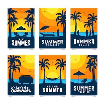 여름 해변 카드 디자인 컬렉션