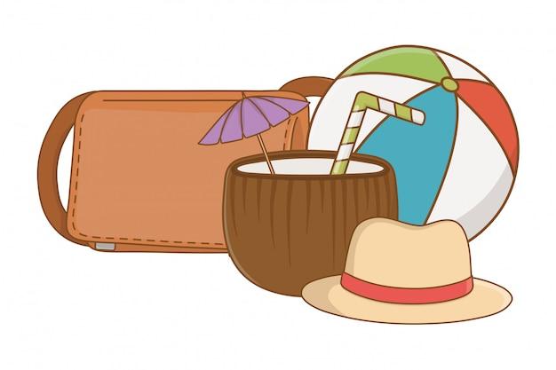 Summer and beach cartoons elements