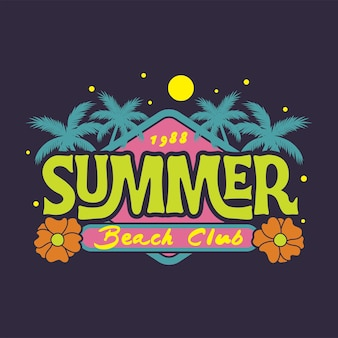 Summer beach club 1988 illustration with nature elements design