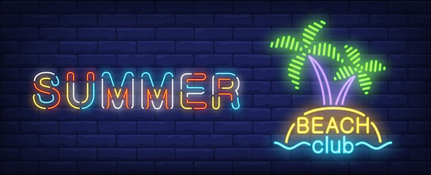 Summer beach club neon sign. tropical island with palms and sea.