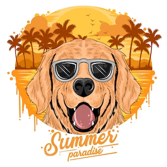 Summer beach and coconut tree with cute dog puppy