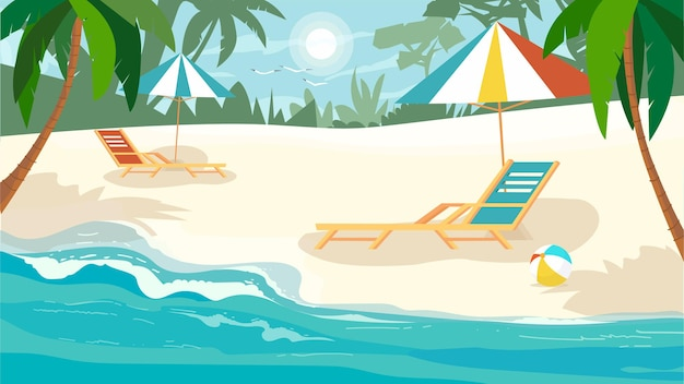 Summer beach concept in flat cartoon design. summertime rest on seaside. sandy beach with palm trees, sun loungers with umbrellas, sea or ocean shore. vector illustration horizontal background