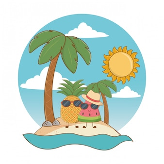 Summer and beach cute cartoons
