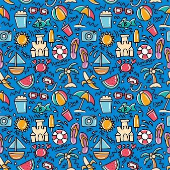 Summer beach doodle seamless pattern