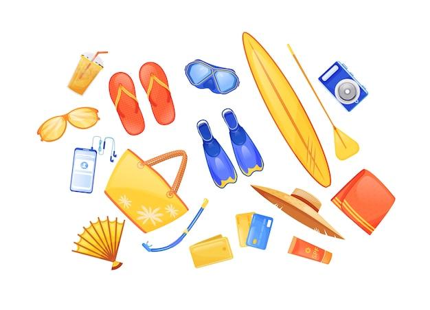 夏のビーチの必需品フラットカラーオブジェクトセット。フィン。サーフボード。旅行用品。海辺の旅のチェックリスト白地に2d分離漫画イラスト