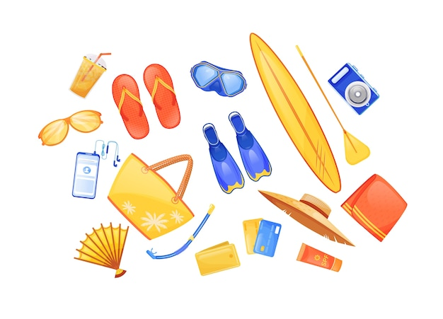 Summer beach essentials flat color objects set. swimming fins. surfing board. travel equipment. seaside journey checklist 2d isolated cartoon illustration on white background
