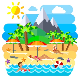 Summer beach flat creative concept illustration, sun, mountains, palm, tanning, swimming, for posters and banners