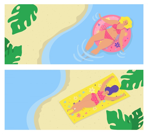 体の肯定的な人々、若い女性の女の子の休暇のための夏のビーチは、イラストを設定します。海で水着の女性キャラクター。幸せな休日、水泳、楽しい旅行で日光浴。