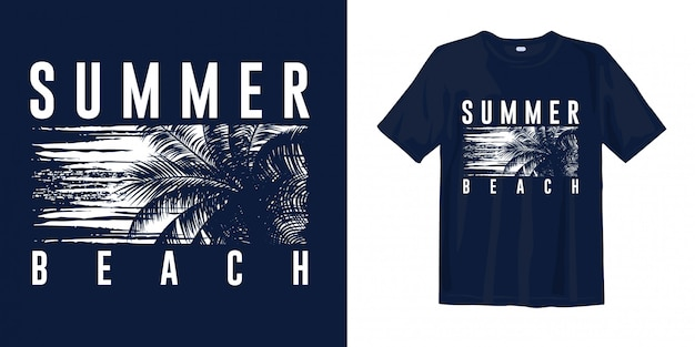 Summer beach graphic stylish with palm silhouette