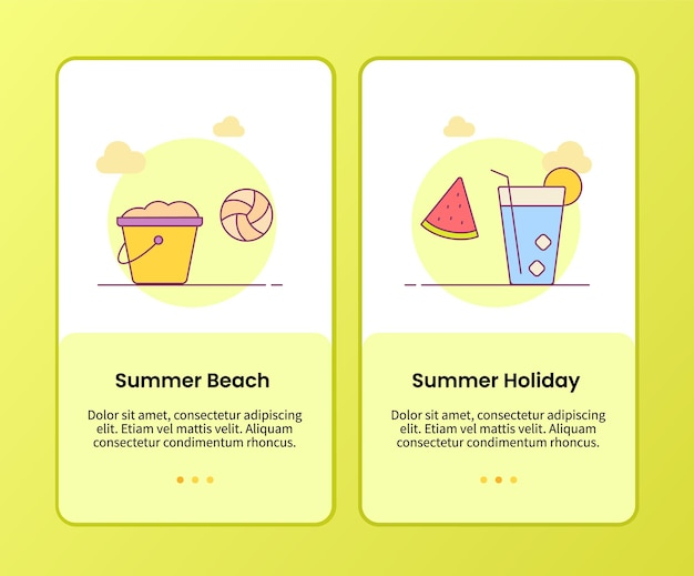 Summer beach holiday campaign for onboarding mobile apps application banner template