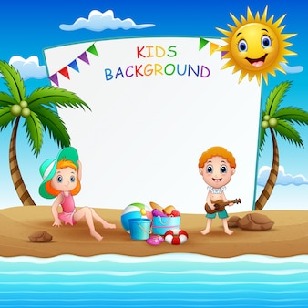 Summer beach holiday frame illustration