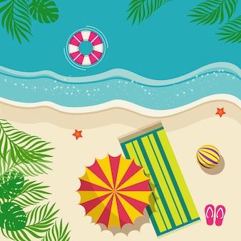 Летний пляжный отдых иллюстрация
