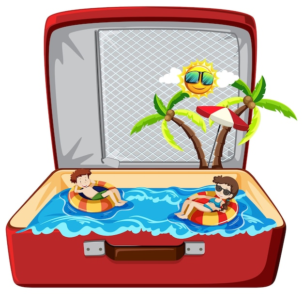 Summer beach holiday in luggage