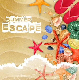 Summer beach holiday poster with top view