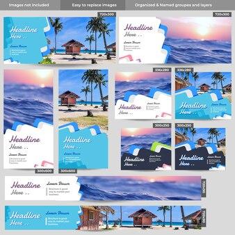 여름 해변 휴가 웹 배너