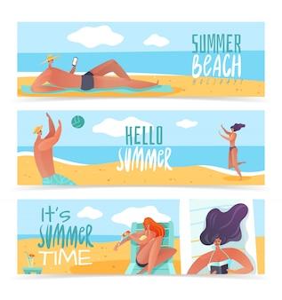 Summer beach horizontal banners