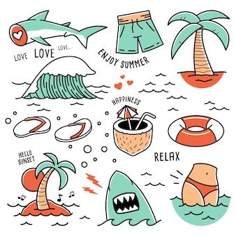 Летом пляж иконки рисованной каракули