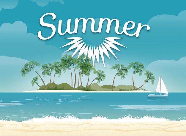 夏のビーチのイラストデザイン