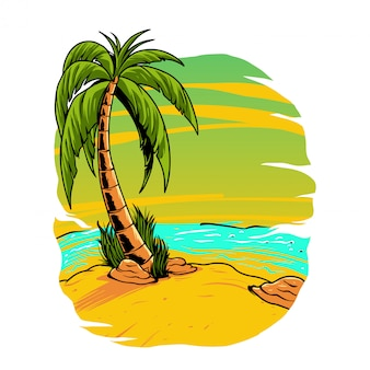 夏のビーチのイラスト