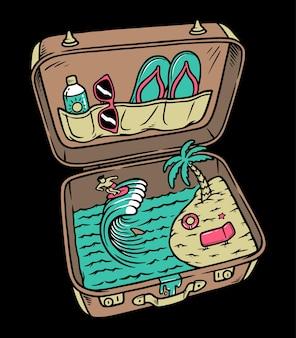 黒で隔離のスーツケースの夏のビーチ