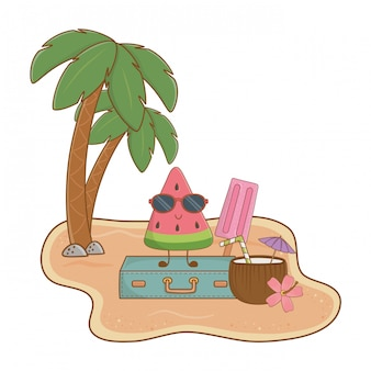 Summer and beach island with cute watermelon character