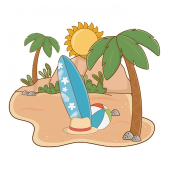 Summer and beach island with surf table