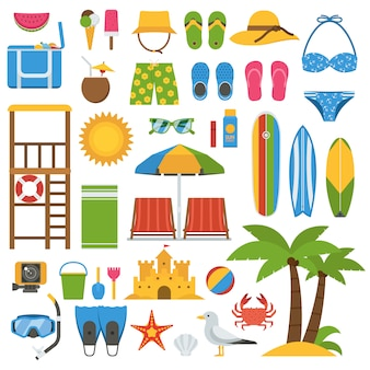 Summer beach items collection. summertime sea vacation vector icon set.