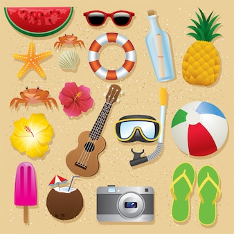 Summer beach items set