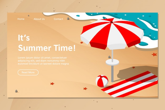 Summer beach landing page vector