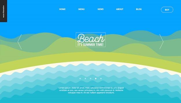 Summer beach landscape background web banner template
