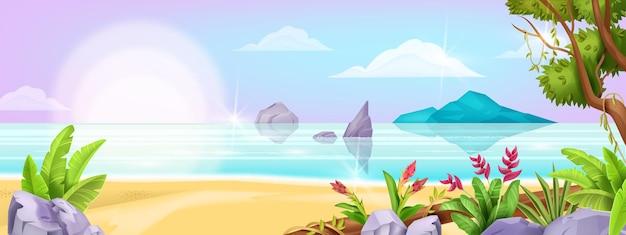 夏のビーチの風景海のエキゾチックな背景