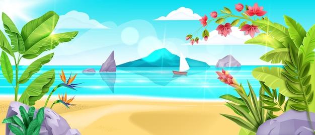 여름 해변 풍경 바다 배경