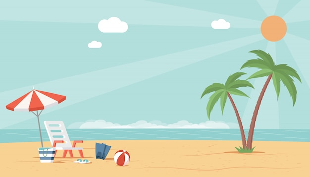 Summer beach landscape view with sea, umbrella, ball, and deckchair. perfect vacation flat illustration.