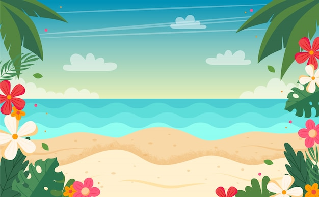 Summer beach landscape with floral frame. vector illustration in flat style