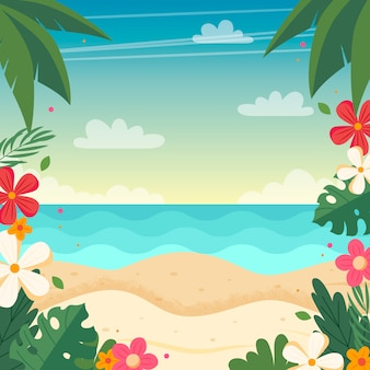 Summer beach landscape with floral frame.