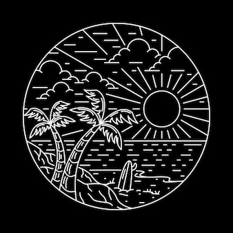 Summer beach line badge patch pin graphic illustration